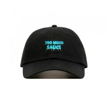 Too Much Sauce Black Embroidered Cotton Dad Hat