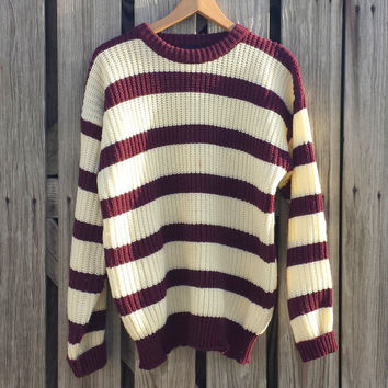 Vintage 80s Men's Sweater - Striped Sweater - Burgundy n Cream - Knit Sweater - Sz M