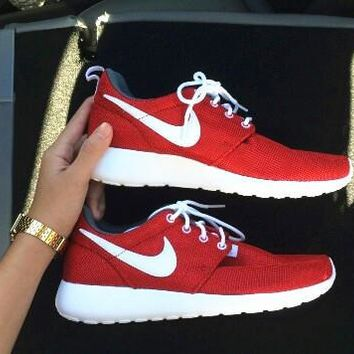 """""""NIKE"""" roshe Trending Fashion Casual Sports Shoes red white hook"""