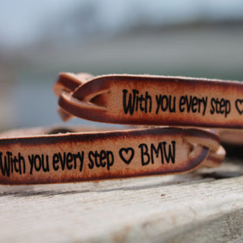 Inspirational Braided Leather  Bracelet SET of TWO--With you every Step and custom engraved initials included