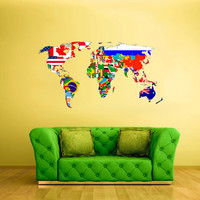 Full Color Wall Decal Mural Sticker Decor Art World Map Banners Flag Countries Paintings New Version (col404)