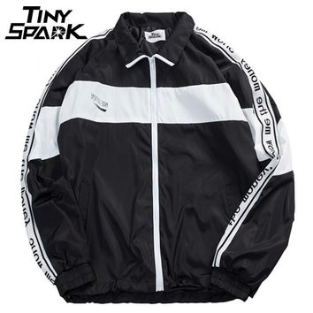 Men Full Zipper Windbreaker Jackets Coat Hip Hop Vintage Color Block Patchwork Track Jacket Street wear
