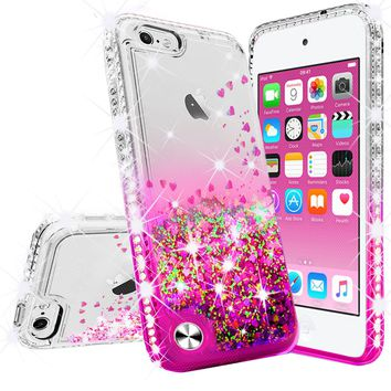 Apple iPod Touch 6, iPod Touch 5 Case Liquid Glitter Phone Case Waterfall Floating Quicksand Bling Sparkle Cute Protective Girls Women Cover for iPod Touch 6/iPod Touch 5 - Hot Pink