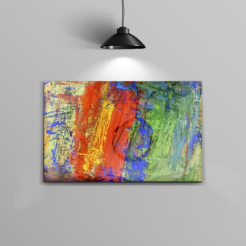The Abstract Bright Primary and Secondary Colored Oil Painting Home Decor Stretched Wall Canvas