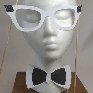 8 Pc Classy Nerd Photo Booth Props, Black & White Eyeglasses Bow Ties and Hair Bows, Wedding, New Years Eve or Birthday Party Props