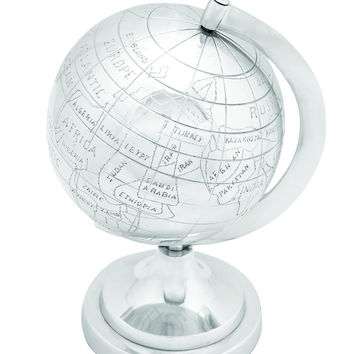 Aluminum Decor Globe in Silver Finish