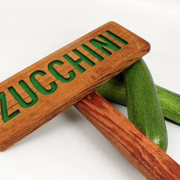 ZUCCHINI Garden Sign: Hand Routed, Vegetable Plant Garden Markers, Wood Garden Sign