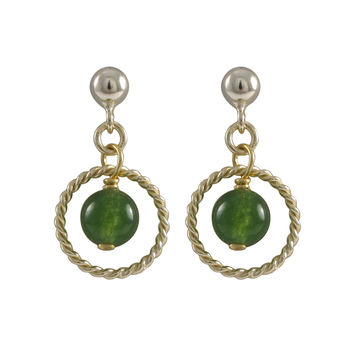 Green Jade 6mm Semi Precious Ball In 10mm Braided Ring, On Gold Plated Sterling Silver Ball Post Earrings, 0.75