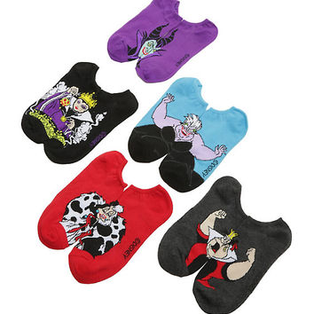 Disney Villains No-Show Socks 5 Pair