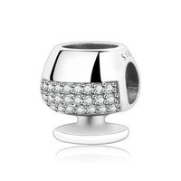 Authentic 925 Sterling Silver Red wine Cup Charm Beads Fit Original Pandora Charm Brac