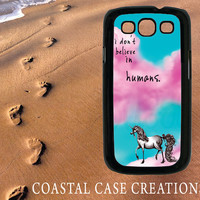 Samsung Galaxy S3 Hard Plastic or Rubber Cell Phone Case Cover Original Blue and Pink Sky Unicorn Quote Design