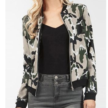 Womens Camouflage Slim Jacket Coat +Gift Necklace