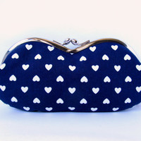 Glasses case Indigo Navy blue Heart Rainbow Soft eyeglass case Kiss lock Purse