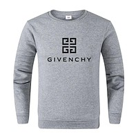 GIVENCHY Autumn Winter Women Men Print Long Sleeve Sweater Sweatshirt Grey