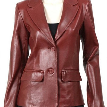 New women's Blazer Red / Maroon Color Leather collar style, women's leather coat, brown leather coat