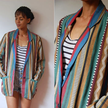 Vtg Pattern Mix Stripes Khaki Buttoned Slouchy Blazer Jacket
