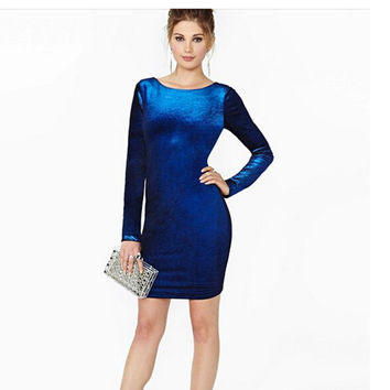 Women's Fashion Summer Velvet Stylish Pullover One Piece Dress [9068283460]