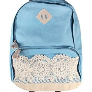 Womdee Lace Splice Backpack Canvas School Bags for Girl With Womdee Accessory