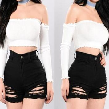 Sexy pure white off shoulder long sleeve crop top women blouse