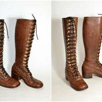 Vintage 70s Vintage Tall Leather Knee High Packer Utility Campus Lace Up Roper Brown Hippie Boho Boots w/ Stacked Wooden Block Heels sz 8