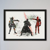 Star Wars Deadpool vs Darth Maul Boba Fett Bounty Hunter Poster Watercolor Print Wall Decor Fine Art Movie Wall Hanging Star Wars Fans gift