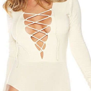 Solid Color V-Neck Strappy Front Long Sleeve Bodysuit