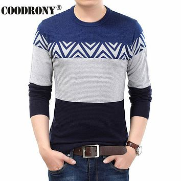 High Quality Winter New Cashmere Wool Sweater Men O Neck Pullover Men Fashion Striped Pull Home