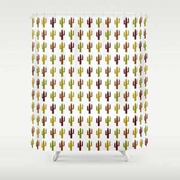 Cactus 2 design, Vector Shower Curtain by Claude Gariepy