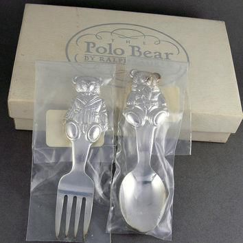 Vintage Ralph Lauren Polo Bear Baby's Silver Plated Spoon & Fork Boxed