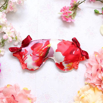 DREA 5 / Floral print silk sleep mask / Ready to ship