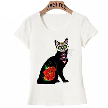 Black cat with day of the dead sugar skull make-up on T-Shirt summer women