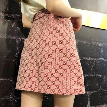 "Hot Sale ""GUCCI"" Trending Women Stylish Double G Jacquard High Waist Short Skirt Pink I12867-1"