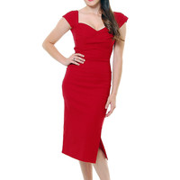 Stop Staring! Mad Style Red Pleated Bodice Cap Sleeve Wiggle Dress