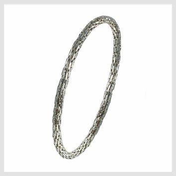 925 Sterling Silver Plated Mesh Chain Stretch Bracelet (Silver 4mm Rectangle Bar Links)
