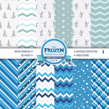 12x Frozen Digital Papers - Frozen Printables - Disney Frozen Inspired Digital Papers - Instant Download Frozen Pattern and Backgrounds