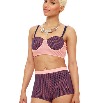 PRETTY GIDGET TWO TONE SHORTS - PEACH