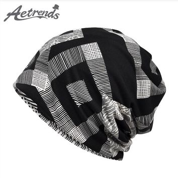 [AETRENDS] 2018 New Spring Summer Plaid Slouchy Baggy Beanie Hats for Men Women Skullies Sport Caps Beanies Collar Scarf Z-6426