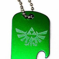 "Zelda Game Green Key Chain With 4"" Chain Dog Tag Aluminum Bottle Opener EDG-0014"