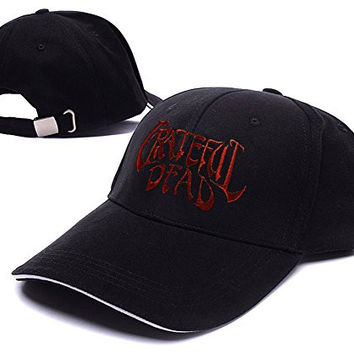 HEJIAXIN Grateful Dead Rock Band Logo Adjustable Baseball Caps Unisex Snapback Embroidery Hats - Black/Red