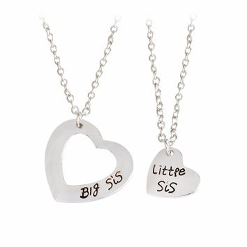 2pcs/Set Big sis Little sis Double Hollow Heart Pendant Necklace Best Friends Forever Sisters BFF Silver  Sisters Family Jewelry