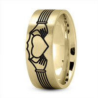 Wedding Band - Claddagh Mens Ring with Black Rhodium in Yellow Gold