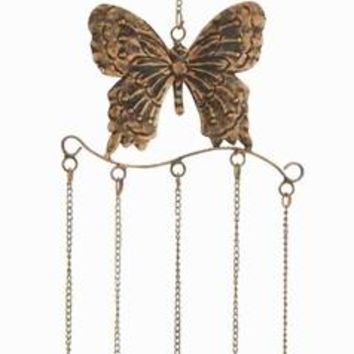 Benzara Metal Butterfly Wind Chime in Attractive Antique Brass Finish