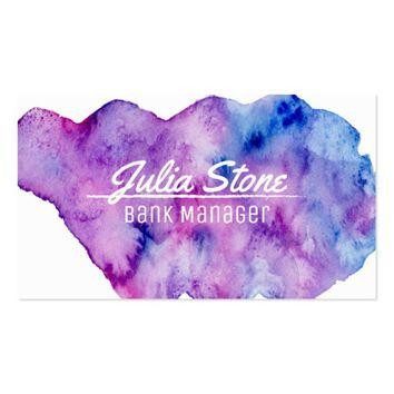 Watercolor Purple & Blue Manager Business Card