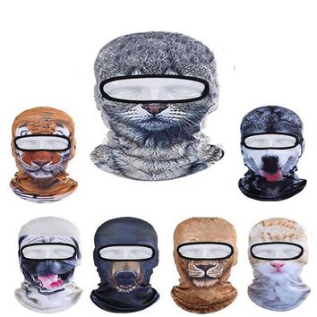 2016 Outdoor Sports Bicycle Cycling Motorcycle Cute 3D Cap Dog Leopard Animal Ski Hood Veil Balaclava UV Wind Full Face Mask