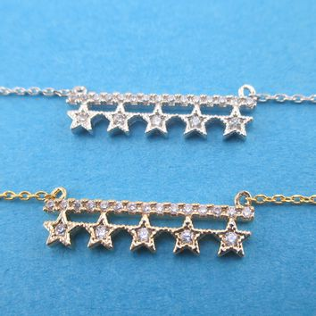 A Row of Stars Constellation Bar Shaped Rhinestone Pendant Necklace