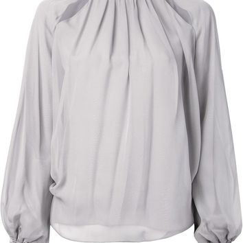 Prabal Gurung contrasting neck and cuffs gather detail blouse
