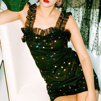 Hot style sells sexy mesh halter colorful sequined dresses
