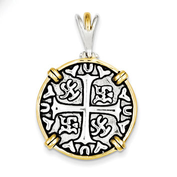 Sterling Silver & Vermeil Chinese Symbols Pendant QP1759