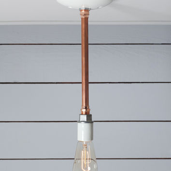 Pendant Copper Pipe Light - Bare Bulb Lamp