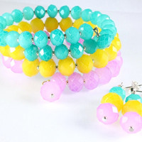 Pastel Memory Wire Bracelet and Earrings, Opaque Crystals